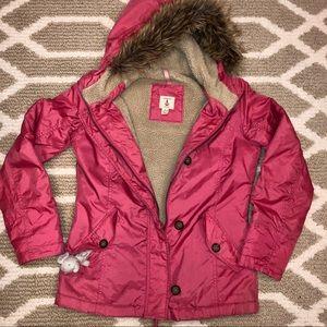 Lands End girl's Berber-lined hooded pink parka